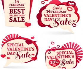 Valentine day discount labels retro vector 01