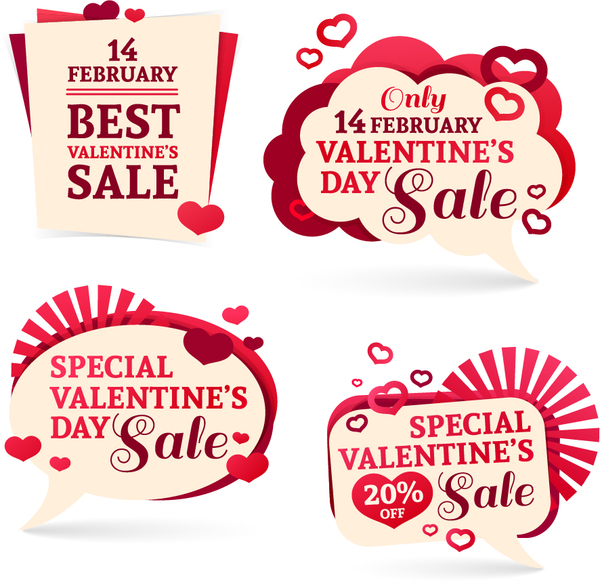 Valentine Day Discount Labels Retro Vector 01 - Vector Festival