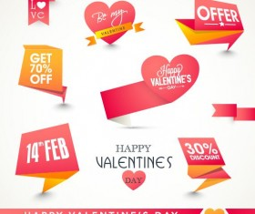 Valentine day discount labels retro vector 02