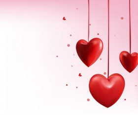Valentine day red heart decor vector illustration
