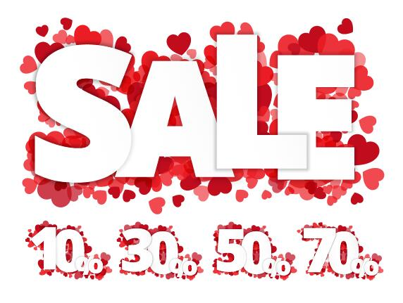 Valentine Day Sale Discount Design Vector