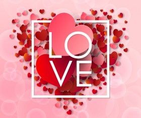 Valentine frame with red heart and pink background vector 01