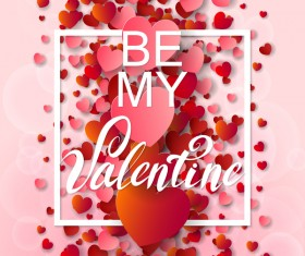Valentine frame with red heart and pink background vector 03