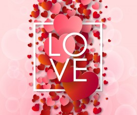 Valentine frame with red heart and pink background vector 06