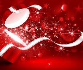 Valentine gift box with red background vectors 02