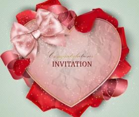 Valentine invitation card with petal vector 01