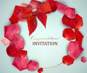Valentine invitation card with petal vector 02