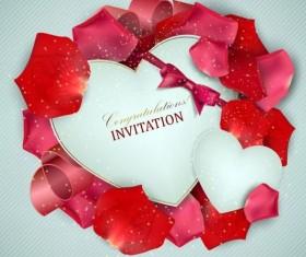 Valentine invitation card with petal vector 03
