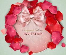 Valentine invitation card with petal vector 04