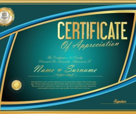 Vector certificate golden template material set 01