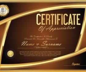 Vector certificate golden template material set 03