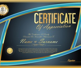 Vector certificate golden template material set 04
