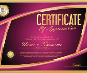 Vector certificate golden template material set 05