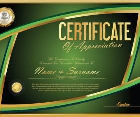 Vector certificate golden template material set 06
