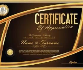 Vector certificate golden template material set 10