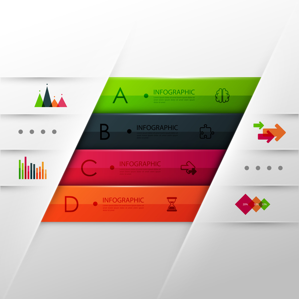 Vector infographic colored template material 06
