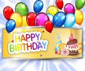 Vintage birthday banner with colored balloon vector