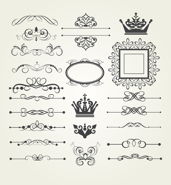 vintage ornaments and frame with crown vector