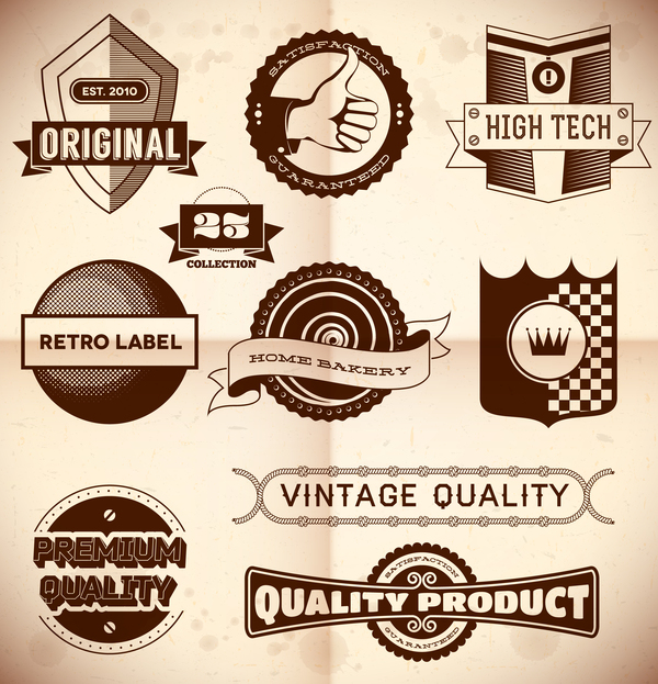 Vintage premium quality labels set vector 04