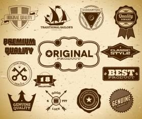 Vintage premium quality labels set vector 08