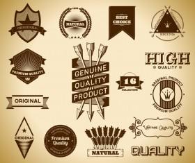 Vintage premium quality labels set vector 09