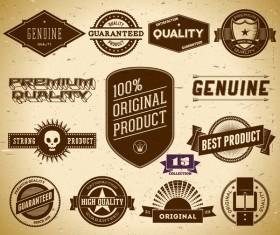 Vintage premium quality labels set vector 10