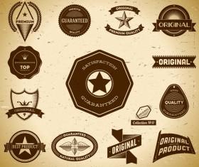 Vintage premium quality labels set vector 12