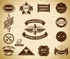Vintage premium quality labels set vector 13