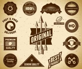 Vintage premium quality labels set vector 14