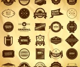 Vintage premium quality labels set vector 15