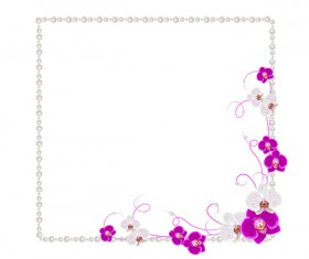 Violet mallow flowers with Jewelry frame vector 01