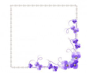 Violet mallow flowers with Jewelry frame vector 02