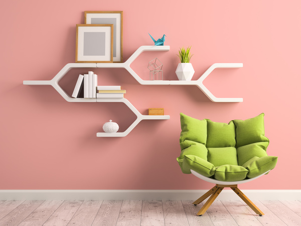 Wall paper decoration download : Wall decoration frame with green sofa stock photo