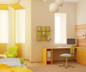 Warmly decorated children's room Stock Photo