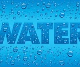 Water text with drops background vectors
