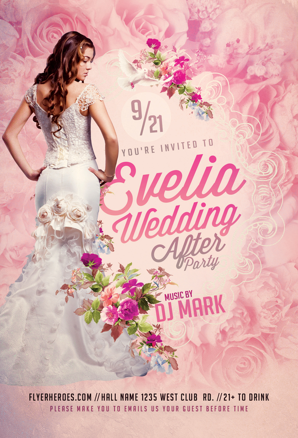 Wedding After Party Flyer Psd Template  People Psd File Free Download