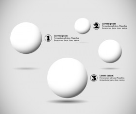 White balls with infographics vectors template 07