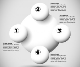 White balls with infographics vectors template 08