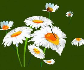 White chrysanthemum illustration vector material