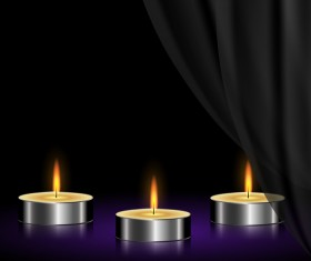White curtain background with candles vector