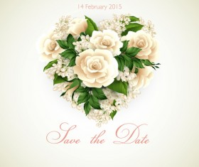White flower with heart and Valentine card vector