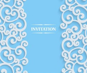 White swirl floral with blue invitation card vector 01
