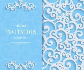 White swirl floral with blue invitation card vector 02