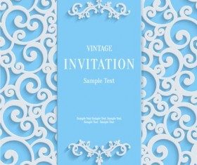 White swirl floral with blue invitation card vector 03