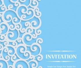 White swirl floral with blue invitation card vector 04