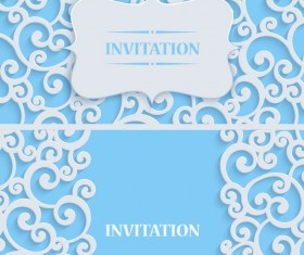 White swirl floral with blue invitation card vector 05