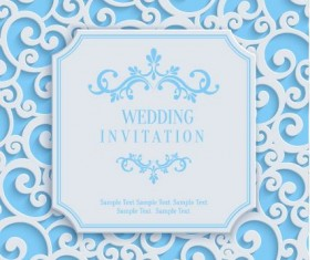 White swirl floral with blue invitation card vector 06