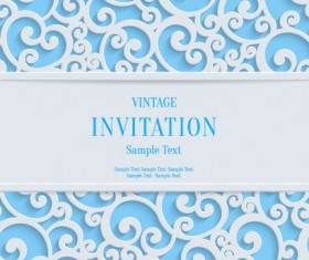 White swirl floral with blue invitation card vector 07