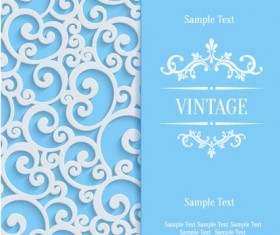 White swirl floral with blue invitation card vector 08