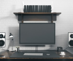 Workplace with computer Stock Photo 03